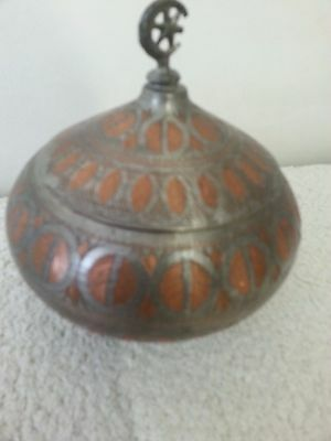 Hand Hammered    Vintage Islamic  copper BOSNIAN  sugar
