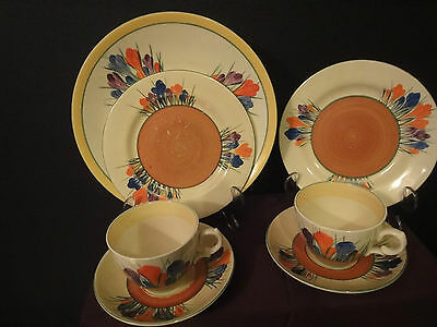 "Clarice Cliff art deco "" crocus"" tea set"