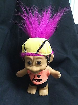 VINTAGE TROLL DOLL- BIKING theme - 90's  russ COLLECTABLE have a l@@k!!!!
