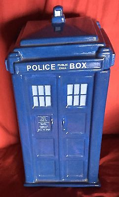 POLICE BOX TARDIS Large Ceramic Biscuit Jar with Roof Lid! Dr Who