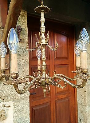 VINTAGE MID CENT. French BRONZE 5 LIGHTS ARMS LIGHT CHANDELIER Without CRYSTALS