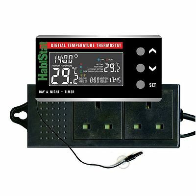Habistat 600w Digital Temperature Thermostat With Day/Night Facility And Timer