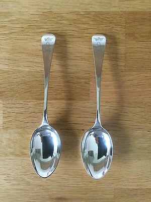 Pair Of Silver Plated Tablespoons For The Oakley Hunt. 1966. Roberts & Belk.