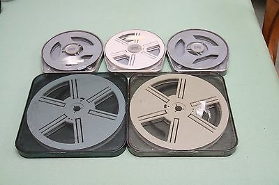 Lot of 5 Super 8 Cine Film Reels in Cases & With Film Clips