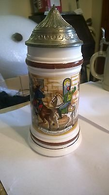 Vintage BMF German Beer Stein With Pewter? Lid 9 inches tall