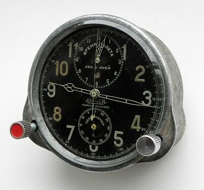 Soviet Military Aircraft Jaeger-LeCoultre 8 Days WWII Cockpit Chronograph Museum