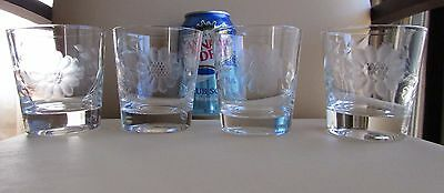 4 Hughes Cornflower Etched 6 oz Tumbler Old Fashioned On the Rocks Liquor Glass