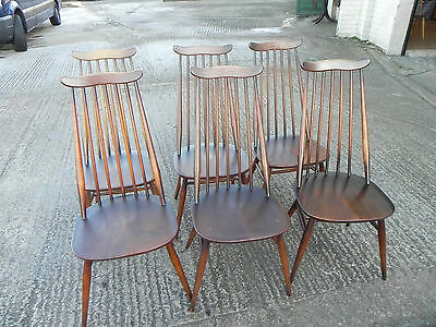 Six Vintage Ercol Goldsmith Dining Chairs C.1960