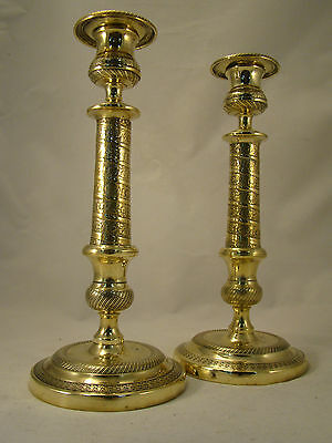 Pair Antique French Brass Bronze Empire period Candlesticks 18th.C. (0202)