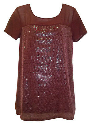 New Next Womens Sequin Lined Ladies Sleeve Party Top Plus Size 8 - 18