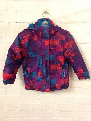 Size 6-7 Years Mountain Warehouse Red/ Purple Mix Check Print Hooded Snow Coat