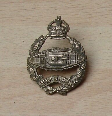 Royal Armoured Corp cap badge from 1920s tank in reverse