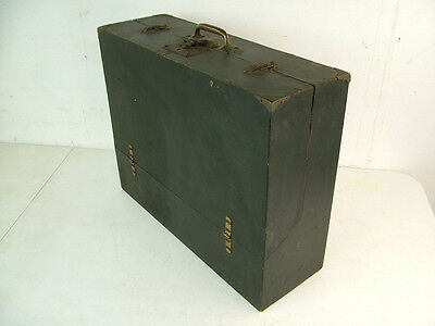 1930s Antique Wood Carrying Hinged Box Suitcase Doll Trunk Instrument Case