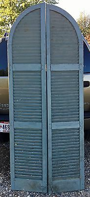 "Vintage Pair Arch Top House Window Louvered Wood Shutters Shabby 80""x14"" Antique"