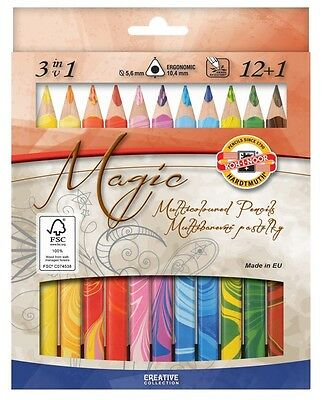 Koh-I-Noor 3in1 Pack of 12 +1 Triangular Magic Pencils With 5.6mm Lead