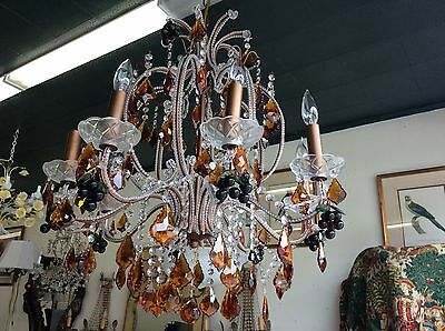 Beautiful  French/Italian style Beaded Chandelier  Grapes Amber Crystals