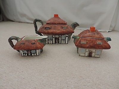John Maddock & Sons, England Royal Vitreous 'Thatched Cottage Ware' Tea Service