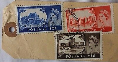 GREAT BRITAIN 1960s CARDBOARD PARCEL TAG WITH 2/6 + 5/- + 10/- CASTLE STAMPS