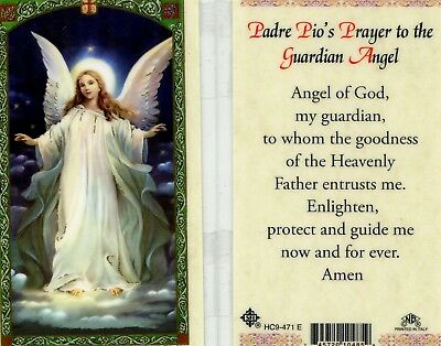 Padre Pio's Prayer to the Guardian Angel Holy Card Enlighten Protect Guide Me