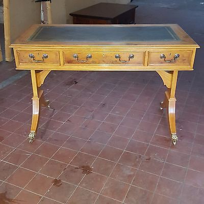 Antique/reproduction Yew & Oak Leather Topped Writing Table/desk