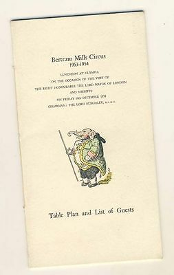 Bertram Mills Circus - Olympia Luncheon 1953, Table Plan