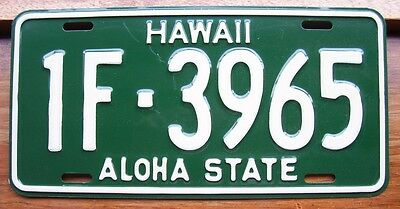 HAWAII 1F-3965 nice old retro AMERICAN LICENSE NUMBER PLATE