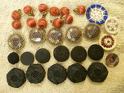 30 Various Vintage Cloth Buttons.