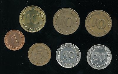 Small lot of 7 Older German Germany Coins (tb15)