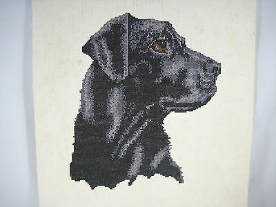 Hand Made Completed Cross Stitch Black Grey Labrador ? Dog-Mounted On Board