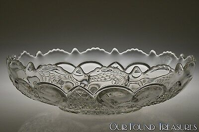 ca. 1898 HARTFORD AKA HEART w/THUMBPRINT Tarentum Glass CRYSTAL Large Bowl