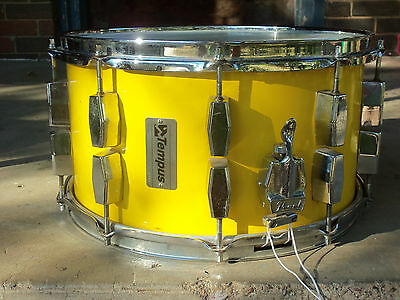 "Tempus Fiberglass 7.5"" x 14"" snare drum Canary Yellow Vintage with Pearl throw"