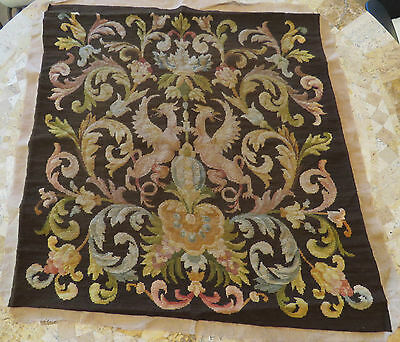 Antique French Tapestry Dragons Needlepoint Woolwork Panel Mythological