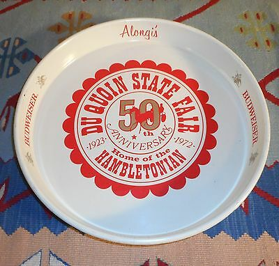 "Budweiser 12"" Tray DU QUOIN STATE FAIR 50TH ANNIVERSARY 1923 - 1972 BEER TRAY"