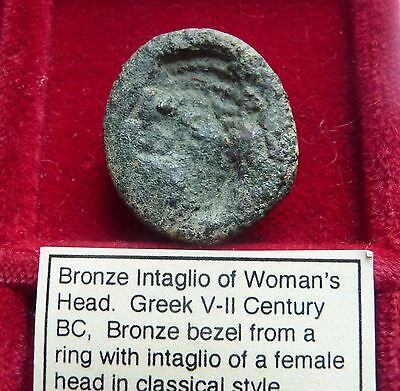 Ancient Greece Large bronze intaglio bezel Female bust Large 5th-2ndc. BC 24mm