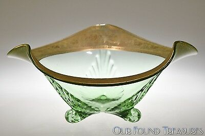 Depression Era LOTUS No. 901 GRECIAN ETCH Gold Encrusted Trifold Ball Foot Bowl