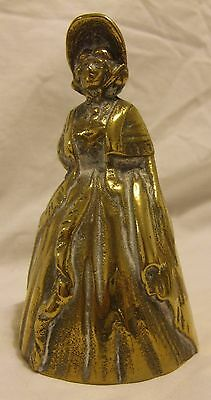Vintage Brass Table Bell, Victorian woman, 11 cm high