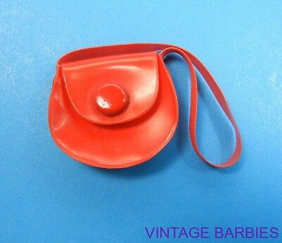 Barbie Doll Sized Red Round Purse Excellent ~ Vintage 1960's