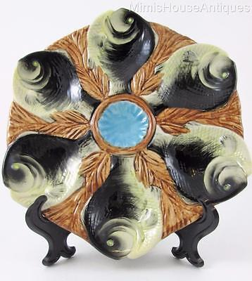 Six figural FISH shape Wells - Colorful majolica OYSTER PLATE blue center RARE!