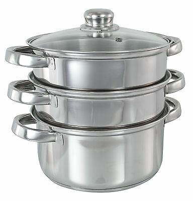 Buckingham 3 Tier Stainless Steel Induction Steamer Set w/ Glass lid, 2 sizes