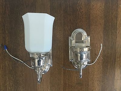 Vintage Set of Nickel Sconces with Milk Glass Shades