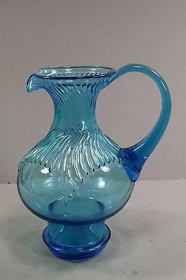 """Vintage Blue Glass Water Pitcher Unique Shape and Design Unknown 9 1/2"""" Tall"""