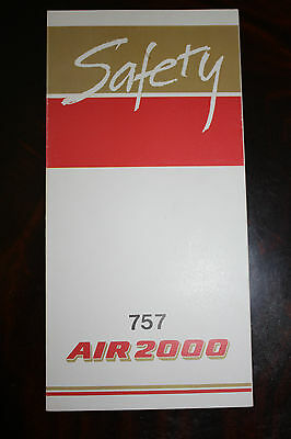 Safety Card Air 2000 Boeing 757 First Edition