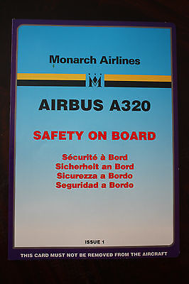 Safety Card Monarch Airlines Airbus 320 Issue 1