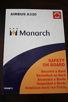 Safety Card Monarch Airlines Airbus A 320 Issue 5