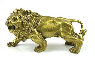 Collectable Tibet Bronze Brass LION Statue figurine , L: 5.5inch