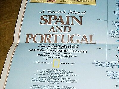 Vintage National Geographic Society Map  SPAIN AND PORTUGAL 1984