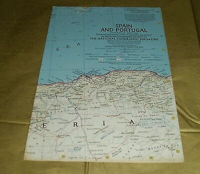 Vintage National Geographic Society Map SPAIN AND PORTUGAL 1965