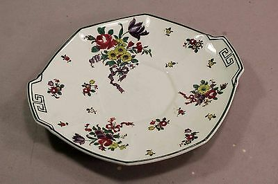 """Royal Doulton Old Leeds Spray Plate Handled Platter Serving Tray 9"""" dia"""