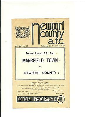 1964/65 FA Cup  2nd round   Newport County v Mansfield Town
