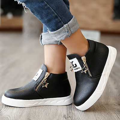 Fashion Kids Girls Boys Casual PU Leather Trainers Ankle Martin Boots Zip shoes